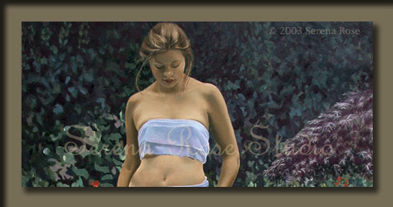 Beautiful giclee on canvas or paper by Serena Rose, portrait of a young woman standing by a pond enjoying the beauty of nature.