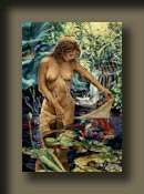 Playful Innocence by Serena Rose is a tasteful nude painting of a young woman in a pond playing with goldfish.