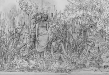 Serena Rose's painting in progress, Four Maidens