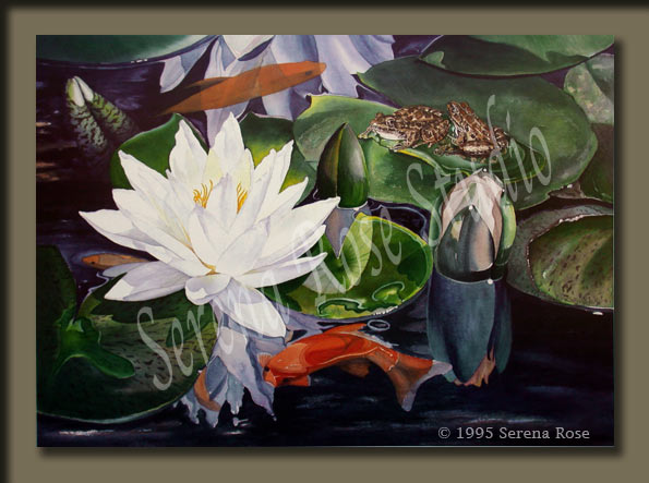 beautiful water lily print with cute frogs and goldfish