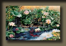 watercolor featuring goldfish, waterlilies, leopard frogs and more.