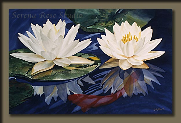 Spring Water Lilies, a watercolor painting by Serena Rose