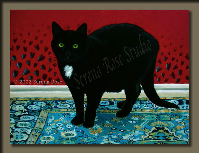 Oil painting by Serena Rose, image of a big beautiful black cat with a white spot